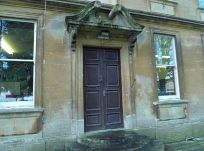 The doorway of the Mansion House in Corsham, unaltered from when it was built in 1721-22.