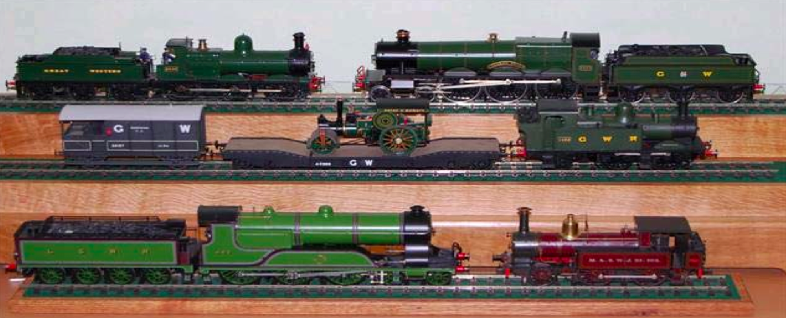 Display with engines representing the three railway companies which had lines running through Wiltshire. Photo: M. Rumsey