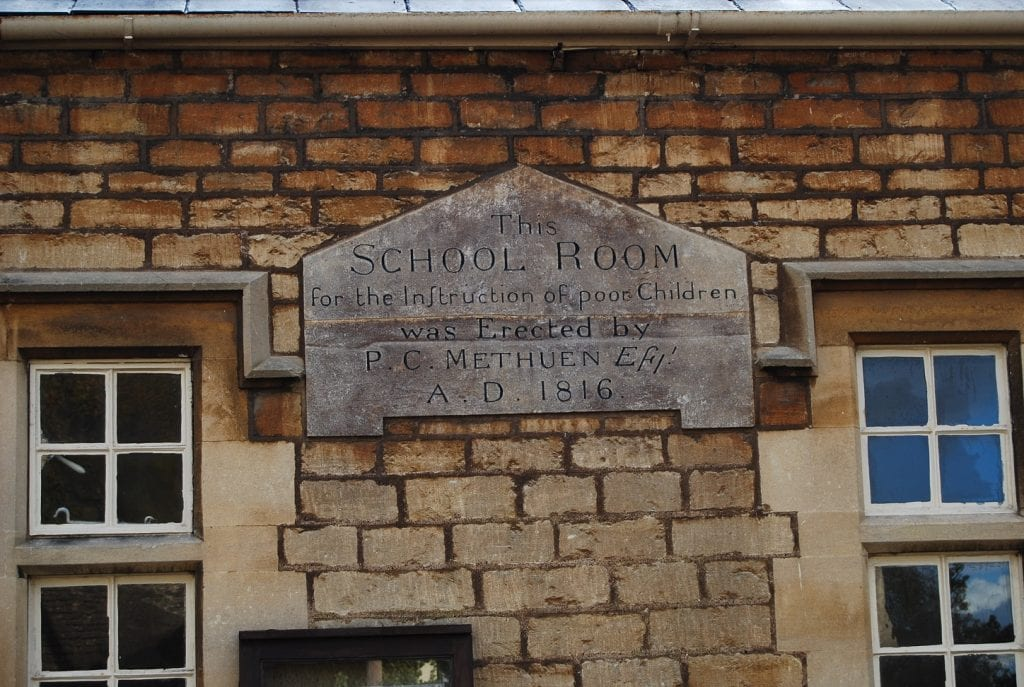 The school room for the instruction of poor children was erected by P.C. Methuen, A.D. 1816