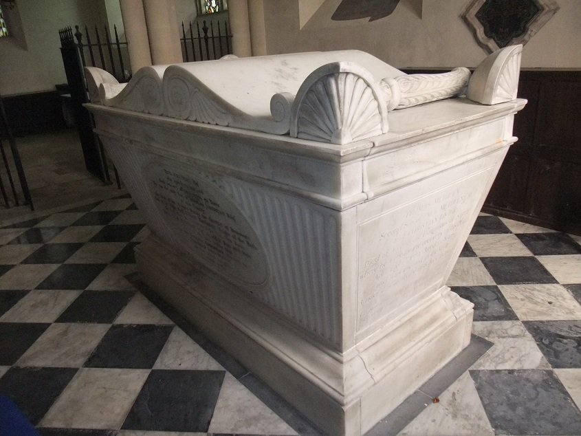 In Pevsner's book on Wiltshire buildings, the tomb is described as follows: 'A large white Grecian sarcophagus in the Methuen family chapel on the north side of the church'