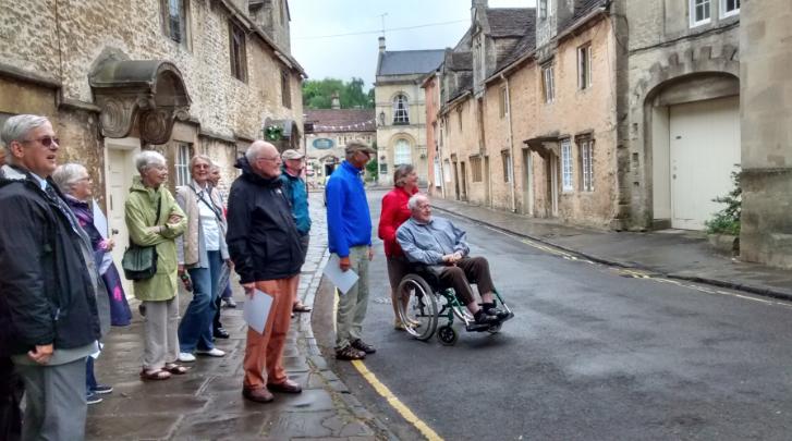 Michael Ramsey, far left, leads a walking group through Church Street in Corsham