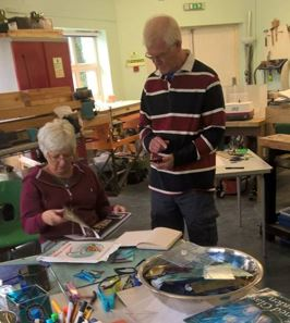 A member learning about stained glass, one of a range of craft skills to be offered in our new Thursday afternoon sessions